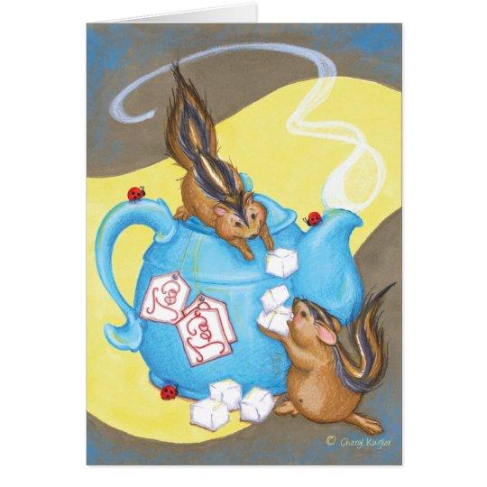 Chipmunk Tea Party / Birthday Greeting Card