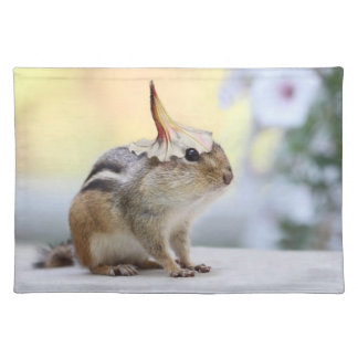 Chipmunk Wearing Flower Party Hat Placemats