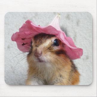 Chipmunk wears flower hat mouse mat