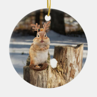 chipmunk with antlers! christmas ornament