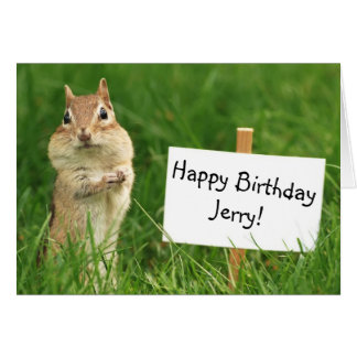 Chipmunk with Happy Birthday Sign Card