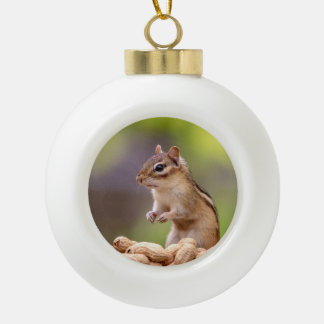 Chipmunk with peanuts ceramic ball christmas ornament