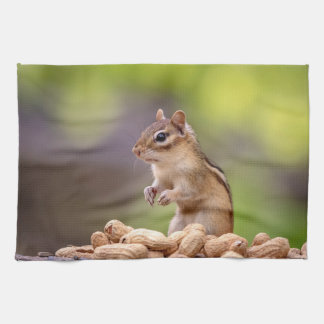 Chipmunk with peanuts tea towels