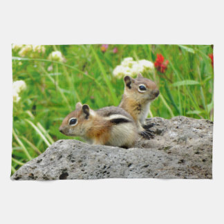Chipmunks and wildflowers towels