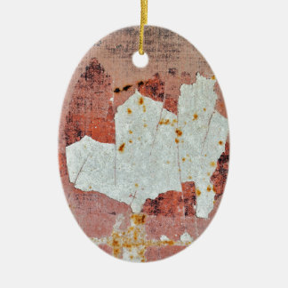 chipped paint rusty metal ceramic oval decoration