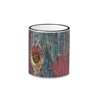 Chipped Red Paint On Wood Surface Ringer Mug