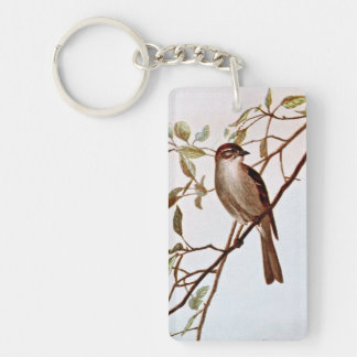 Chipping Sparrow Perching Double-Sided Rectangular Acrylic Key Ring