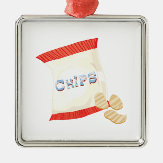 Chips Bag Silver-Colored Square Decoration