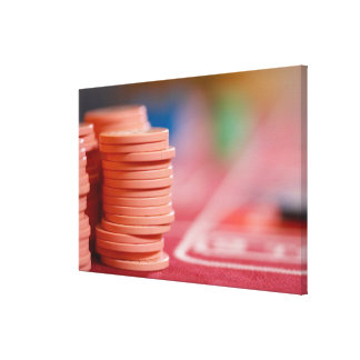 Chips on betting table canvas print