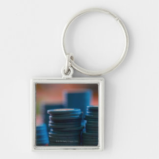 Chips on betting table Silver-Colored square key ring