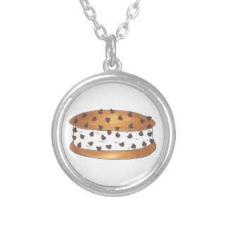 Chipwich Chocolate Chip Cookie Ice Cream Sandwich Silver Plated Necklace