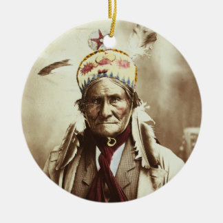 Chiricahua Apache Indian Leader Geronimo Portrait Christmas Ornament