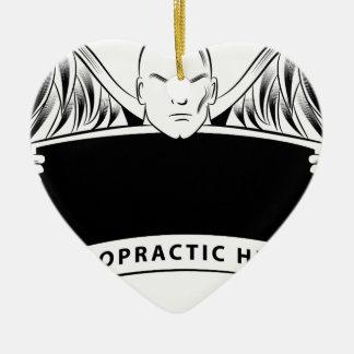 Chiropractic Health Angel Sign Symbol Ceramic Heart Ornament