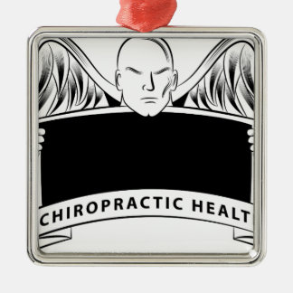Chiropractic Health Angel Sign Symbol Silver-Colored Square Decoration