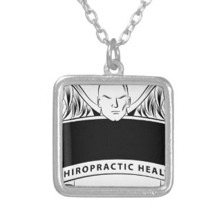 Chiropractic Health Angel Sign Symbol Square Pendant Necklace
