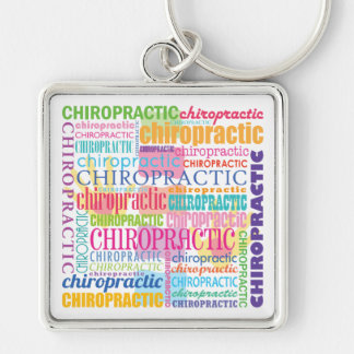 Chiropractic Word Collage Silver-Colored Square Key Ring