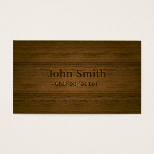 Chiropractor Elegant Wood Background Professional Business Card