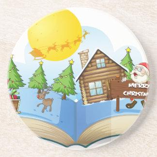 Chirstmas book sandstone coaster