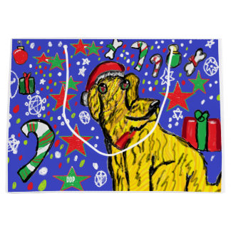 Chirstmas  dog art large gift bag