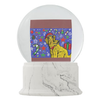 Chirstmas  dog art snow globes