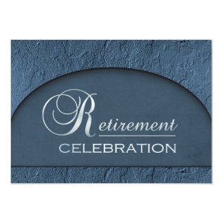 Chiseled Stone Blue Business Executive Retirement Invitation