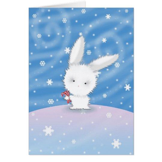 Chistmas Bunny Card Snow Bunny