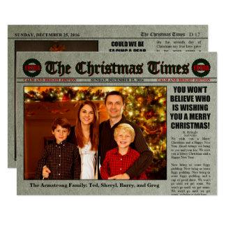 Chistmas Newspaper 13 Cm X 18 Cm Invitation Card