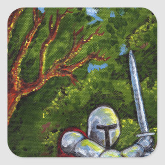 Chivalry Knight Medieval Armor Sword Renfair Square Sticker