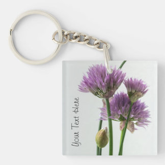chives in bloom key ring
