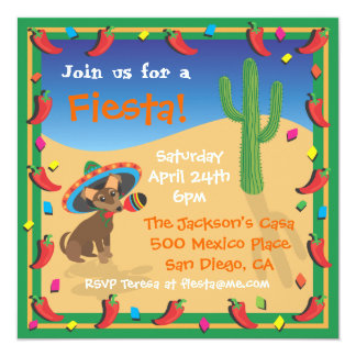 Chiwawa's Mexican Fiesta Party Invitation