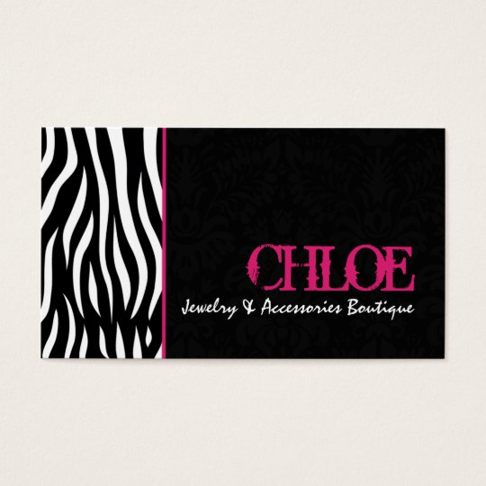 Chloe Black & Hot Pink Zebra Chic Business Card