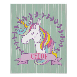 Chloe Personalized Unicorn Poster