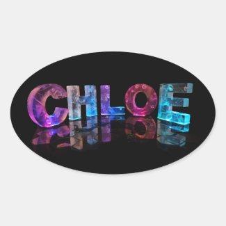 Chloe- Popular Girls Names in 3D Lights Oval Sticker