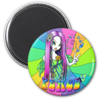 """Chloe"" Rainbow Peace Hippie Fairy Magnet"