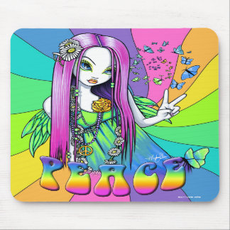 """Chloe"" Rainbow Peace Hippie Fairy Mousepad"