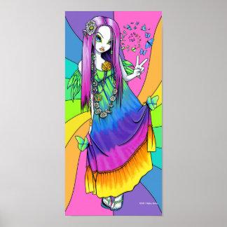 """""""Chloe"""" Rainbow Peace Hippie Fairy Poster"""
