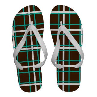 Choc Brown Teal White Crosshatch Pattern Sandals