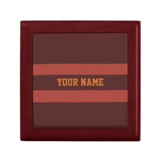ChocMerlot Persimmon Trendy Fall Sport Stripes Keepsake Boxes