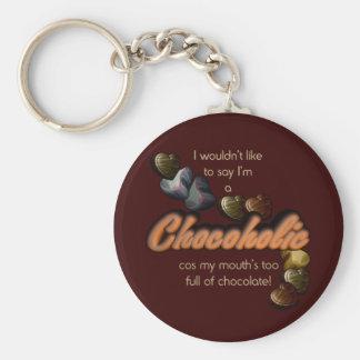 Chocoholic Basic Round Button Key Ring