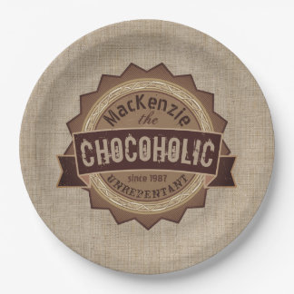 Chocoholic Chocolate Lover Grunge Badge Brown Logo 9 Inch Paper Plate