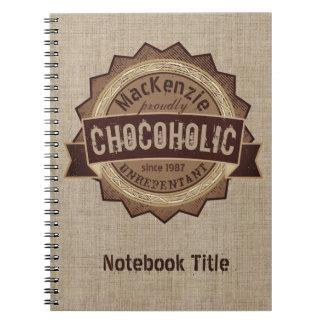 Chocoholic Chocolate Lover Grunge Badge Brown Logo Notebook
