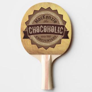 Chocoholic Chocolate Lover Grunge Badge Brown Logo Ping Pong Paddle