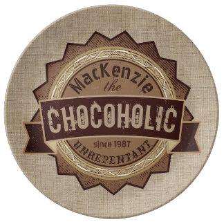 Chocoholic Chocolate Lover Grunge Badge Brown Logo Porcelain Plate