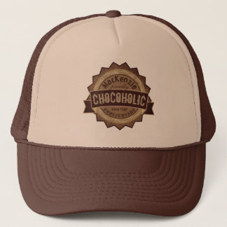 Chocoholic Chocolate Lover Grunge Badge Brown Logo Trucker Hat