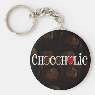 Chocoholic, Dark Brown and Red Heart Funny Design Basic Round Button Key Ring