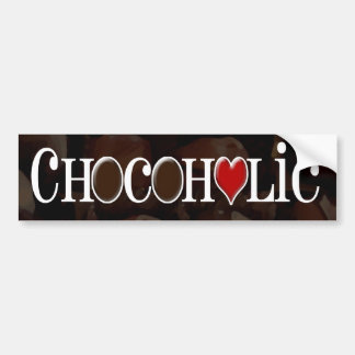 Chocoholic, Dark Brown and Red Heart Funny Design Bumper Sticker
