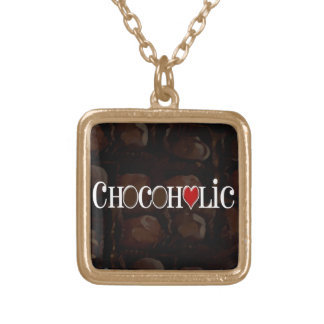Chocoholic, Dark Brown and Red Heart Funny Design Gold Plated Necklace