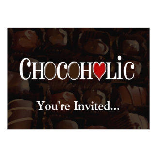 Chocoholic Dark Brown and Red Heart Funny Design Invitations