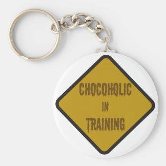 Chocoholic in training basic round button key ring