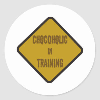 Chocoholic in training round sticker